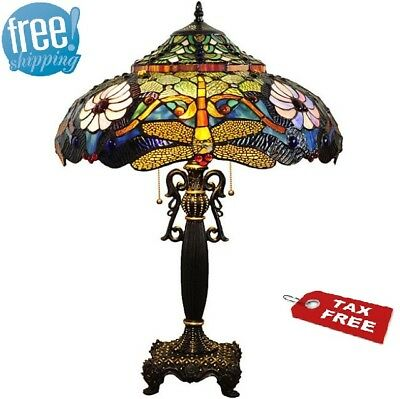 Dragonfly Table Lamp Gold White Blue Tiffany Style Bronze Stained Glass Accent