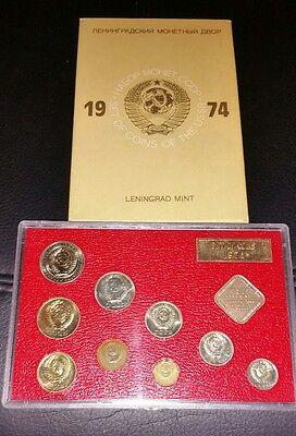 1974 Russia Ussr Cccp Soviet Union - Official Leningrad Mint Proof Like Set (9)