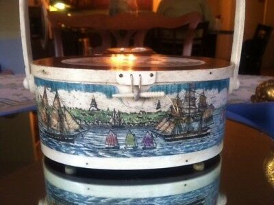Polychrome Scrimshaw Decorated, Sailor's Tool Box (Ditty Box)