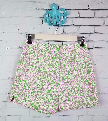 Lilly pulitzer the lilly vtg 1960's high waisted floral shorts pink green size 6
