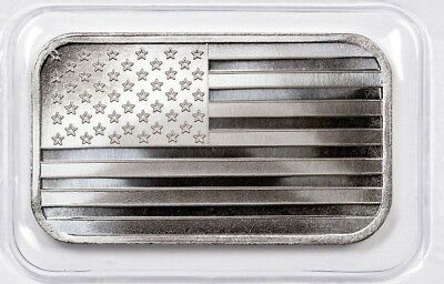 "1 oz Hand Poured 999 Silver Bullion Bar 3D "" AMERICAN FLAG "" Poured Silver"
