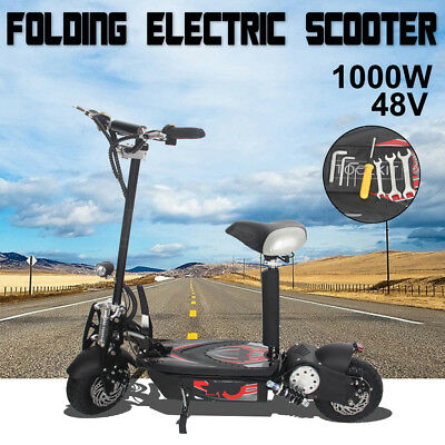 "1000W Electric Scooter 48V Adjustable Foldable Turbo 10"" LED for Adult/Child"