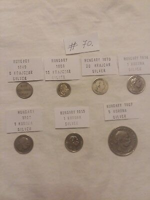 Lot of 7 silver coins from Hungary. #70