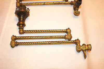 Antique Victorian Brass Gas Lamp Light Arms (5) Ornate Swivel Oil Lamp Fixtures