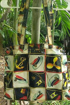 Vtg Estro Firenze Italy Nautical Laminated Printed Fabric Shoulder Bag Large
