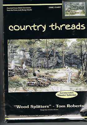 """"""" WOOD SPLITTERS """"  Cross Stitch Kit,  Country  Threads"""