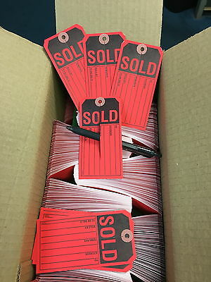 Sold Tags, Red w/Slit, 13pt. Tag Stock Box of 1,000  2 3/8 x 4 3/4