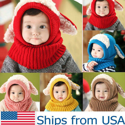 US Stock Baby Winter Beanie Hat Toddler Warm Hooded Scarf Earflap Knitted Cap