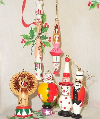 6 Vintage Avon Wooden Christmas Ornaments Circus Gift Collection