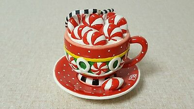 Mary Engelbreit Cup & Saucer Full Of Peppermint Candy Christmas Ornament