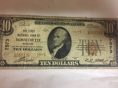 1929 $10 Ten Dollar Bill The First National Bank of Bosworth Missouri