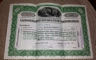Vtg 1923 Virginia Consolidated NEVADA-UTAH CORP. 100 Shares Stock Certificate
