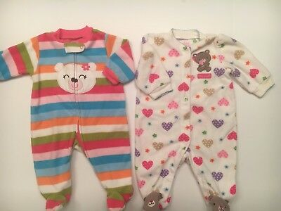 47ab69696 TWO CARTER S BABY girls sleepers size 0-3 months -  6.00