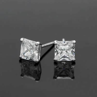 1 Ct Princess Created Diamond Solid 14K Gold Square Solitaire Earrings Studs