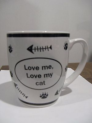 "Cat coffee mug---BRAND NEW  ""Love Me, Love My Cat""--blk/white design"