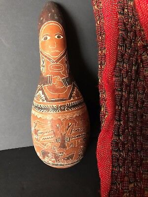 Old Peruvian Carved Story Gourd …beautiful collection & display item...