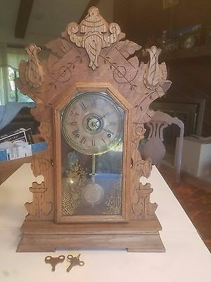 Antique SETH THOMAS 8 Day Gingerbread Mantle Clock 1910 Oak.