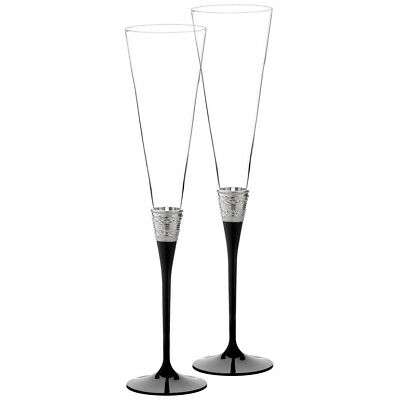 NEW Wedgwood Vera Wang With Love Noir Toasting Flute Set