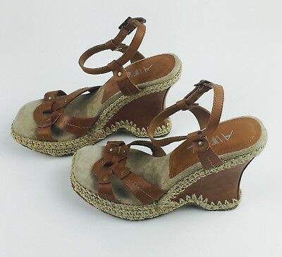 8a2f6ec16112e New AWOL Women s Brown Titus Leather Sandals Wedges Buckle SZ 8.5M Heel ...
