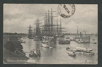 e718)     SHIPPING POSTCARD: TALL SHIPS ON THE HOOGHLY CALCUTTA INDIA IN 1906