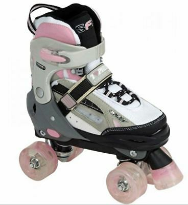 SFR Typhoon Adjustable Quad Roller Skates - Pink Size Large UK 3-6 RRP$119