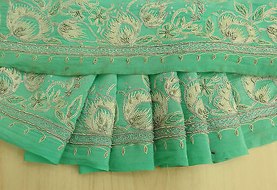 Vintage Indian Sari Border Trim Embroidered Sewing Green Sarong 1YD Ribbon Lace