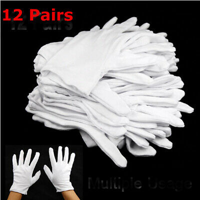12 Pairs Cotton White Gloves General Purpose Moisturising Lining Gloves L Size