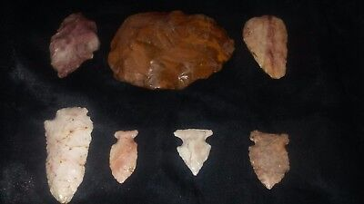 7 pc Colorful Crescent Quarry St.Louis County MO.Authentic Arrowhead Collection