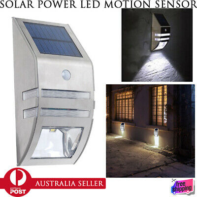 New Outdoor Wall Light Lamp Stainless Steel Solar Power LED Motion Sensor Garden