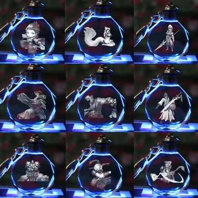 Anime King of Glory LED Light Crystal Pendant Figure Key Chain ring lots
