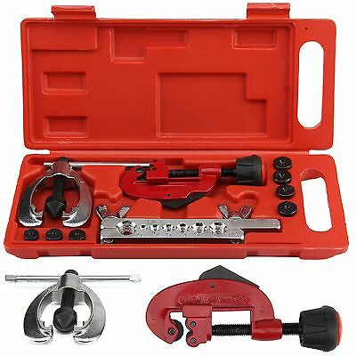 10x High Quality Brake Pipe Flaring Kit Fuel Repair Tool Tube Cutter+Storage Box