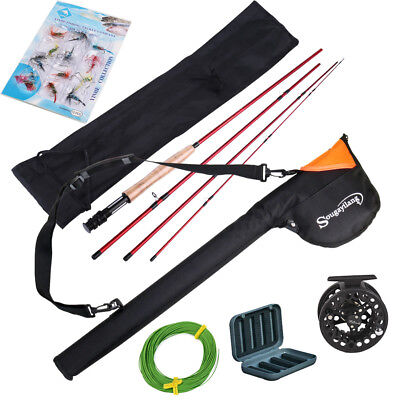 Fly Fishing Set 2.7M Rod 5/6 Reel+Tube Bag+Lures+Lines Kits Rod and Reel Combos