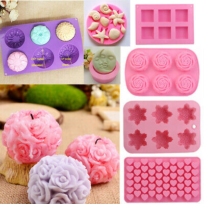 Silicone Soap Mould DIY Cake Chocolate Tray Baking Tools Candle Mold Craft