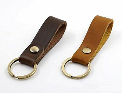 Jzcky Shzrp Leather Valet Key Chain Key RingBrown and Dark Brown2-Pack