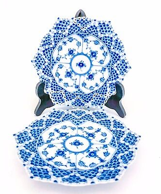 2 Plates #1144 - Blue Fluted - Royal Copenhagen - Full Lace - 1:st Quality