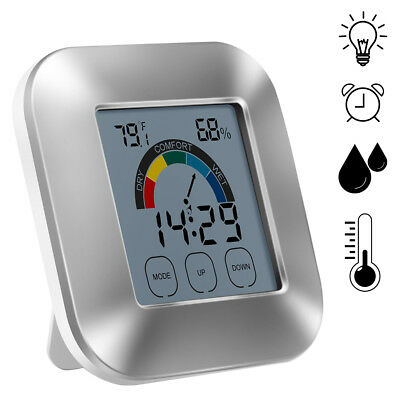 Digital LCD Thermometer Hygrometer Humidity Meter Indoor Room Temperature Clock