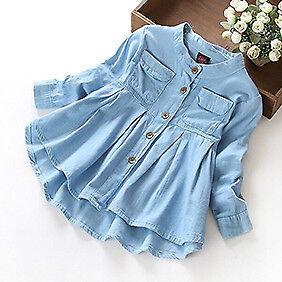 Toddler Kids Baby Girls Long Sleeve Denim Shirt Tops Coat Casual Blouse Clothes