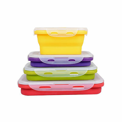 4 Silicone Eco Collapsible Lunch Box Portable Folding Food Storage Containers