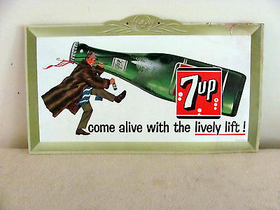 """7-Up Poster cardboard sign from 1961 """"Come Alive with the Lively Lift"""""""