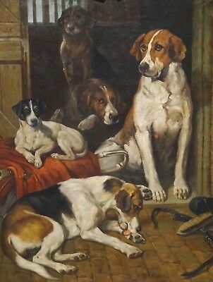Fine Large Circa 1900 English Hounds & Terrier Dog Portrait Antique Oil Painting