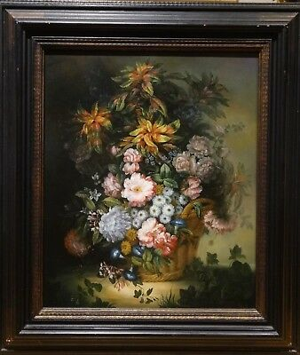 Fine Large 20th Century European Basket Of Flowers Still Life Study Oil Painting