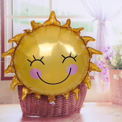 1/3/5Pcs Cute Smiling Sun Baby Shower Air Balls Helium Foil Balloons Smiley Face