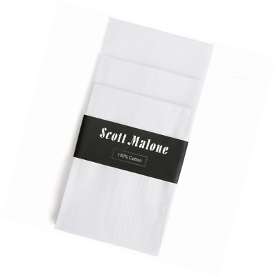 12 Pack Fine Men's Handkerchiefs 100% Cotton-Scott Malone