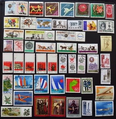 Poland Stamp Collection Of 50 Different Used Stamps All Unhinged