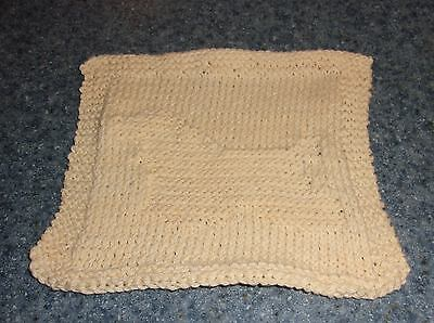 Brand New Hand Knit Buff Cocker Spaniel Cotton Dish Cloth For Dog Rescue Charity
