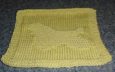 Brand New Hand Knit Cocker Spaniel Yellow Dish Cloth For Dog Rescue Charity