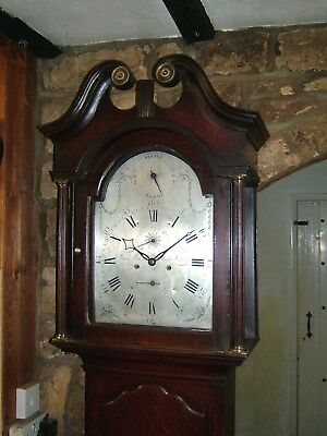 Lovely Georgian Silvered dial Strike/Silent Longcase Grandfather Clock C1770-80