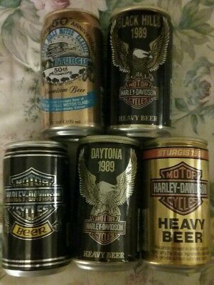1  50th Ann. Sturgis & 4 Harley Beer cans