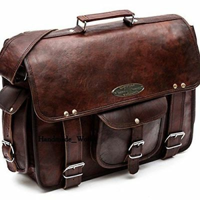 Leather Computer Bag Men's Shoulder Laptop Women Messenger Briefcase Vintage