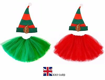 Kids ELF TUTU COSTUME Girls Christmas Party Fancy Skirt Dress Santa Helper UK